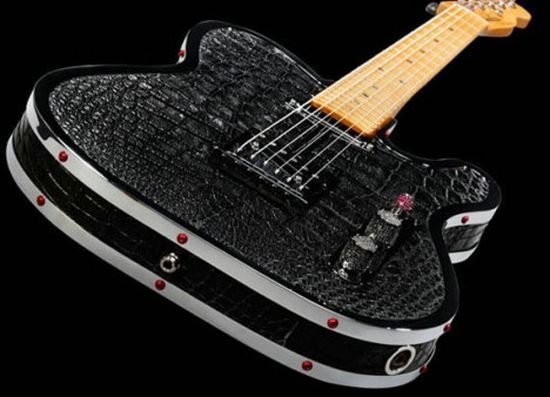 $85,000 Custom Diamond & Alligator Guitar by Rock Royalty
