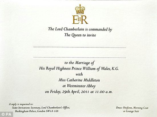 royal wedding invitation image. the royal wedding of