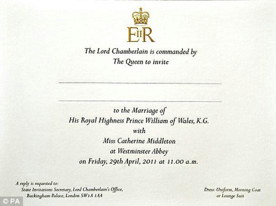 Royal Wedding: Prince William & Kate Middleton Gold Invitations