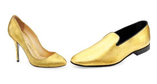 Alberto Moretti 24-Carat Gold Velvet Shoes