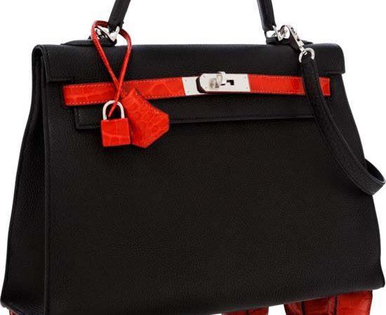 Hermès Kelly handbag 'Geranium Porosus' fetches record price at auction $125,000