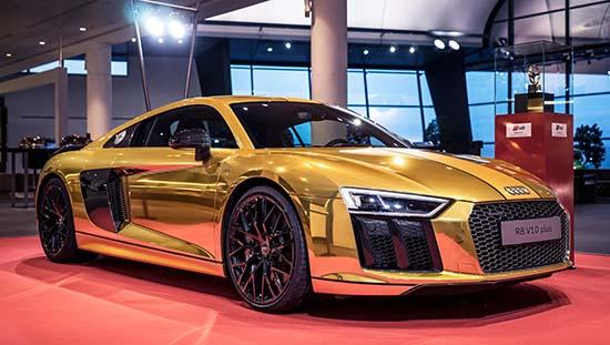 Audi R8 V10 Plus Gets Chrome Gold Treatment