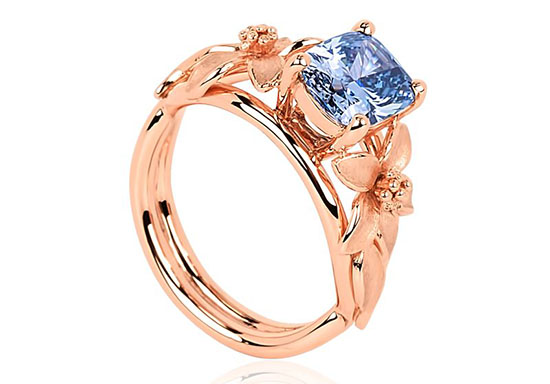 The Mesmerizing Jane Seymour Fancy Vivid Blue Diamond Ring
