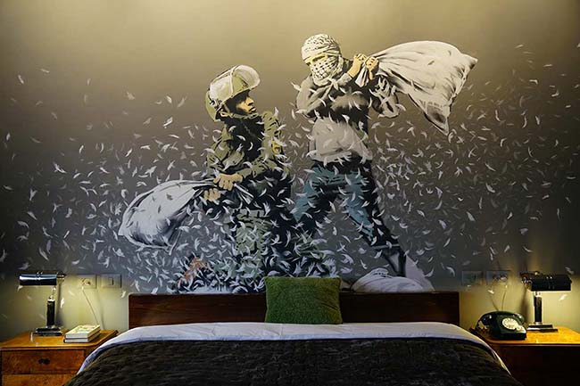 Banksy Opens The Walled Off Art Hotel in Bethlehem